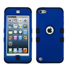 iPod Touch 5 5th Gen Rubber IMPACT TUFF HYBRID Phone Case Skin Cover Blue Black