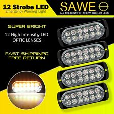 4x Amber / White 12 LED Car Truck Emergency  Warning Hazard Flash Strobe Light