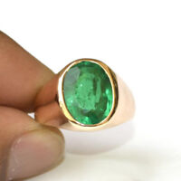 Rich Green Color Green Emerald Gemstone 14K Rose Gold Silver Men's Ring Size 9