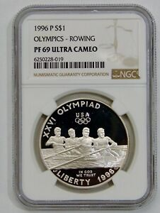 1996 P - Olympics Rowing Proof Commemorative Silver Dollar - NGC PF 69 Ultra Cam