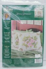 Plaid Bucilla - Stamped Cross Stitch - Bed of Roses Pillow Sham - Donna Dewberry