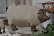 Large Folk Art PIG Hog STATUE*Farmhouse Primitive/French Country Decor