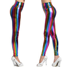 LADIES RAINBOW SEXY FAUX LEATHER SHINY METALLIC STRETCH LEGGINGS PANTS CUSTUMES
