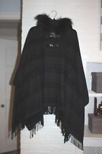 NWOT ZARA PONCHO WITH FAUX FUR HOOD OVERSIZED BLANKET CAPE COAT JACKET GREY