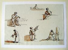 GERMANY FIGURE STUDIES ON THE WALCHENSEE(2) SEPIA OBERNACH C1810