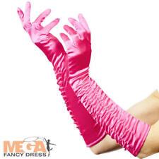 Ladies Pink Temptress Gloves Burlesque Fancy Dress Fairytale Costume Accessory