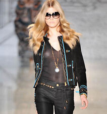 GUCCI $3776 black suede leather metal star studded teal trim biker jacket 38 NEW