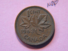 1963 Canada Canadian Small 1c  (One) Cent Coin