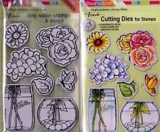 New Stampendous DIE AND Rubber STAMP Set BUILD A BOUQUET FLOWERS Free us ship