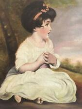 E. Thompson Oil on Canvas Portrait of a Young Girl 1916