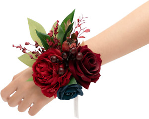 Ling's moment Burgundy & Navy Blue Artificial Flowers Bridesmaid Wrist Corsage