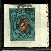 SWITZERLAND SCOTT 7a USED IN FRAGMENT, FORGERY