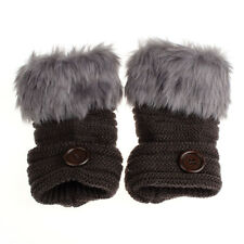 Women Warm Winter Faux Rabbit Fur Wrist Fingerless Gloves Mittens Deep Gray D2