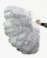 """light grey XL 2 layers Ostrich Feather Fan 60"""" with leather Travel Bag"""