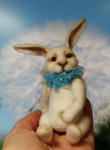White rabbit - felted artist hand made collectible toy