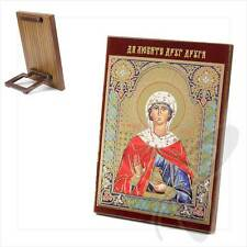 Ikone Heilige Johanna Holz 8x6 Святая Иоанна икона