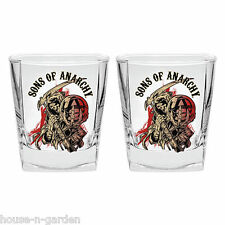 OFFICIAL LICENSED SOA SONS OF ANARCHY SET 2 SPIRIT GLASSES KITCHEN BARWARE GIFT