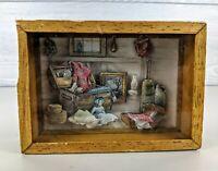 Vintage 3d Shadow Box wall art farmhouse decor wood frame 5 x7