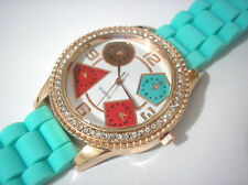 Bling Bling Big Case Light Blue Rubber Band Ladies & Girls Watch Item 2185