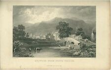 1833 Print of Keswick, Cumbria Great Britain by Fisher & Sons