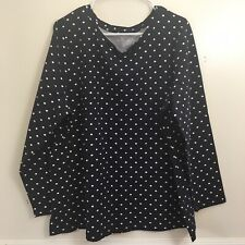 Woman Within Blue White Polka Dot Top Womans Plus Size 1X 22/24 Long Sleeve A4