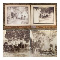 1860s Antique LOT of 2 Civil War PHOTOS CAMP ~ Northern Musician Soldiers (aT)