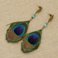 1 Pair Women Bohemian Style Vintage Peacock Feather Big Dangle Earrings Jewelry