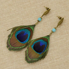 1 Pair Women Bohemian Style Vintage Peacock Feather Big Dangle Earrings Jewelry