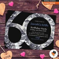 Personalised diamond birthday party invitations invites 21st 30th 40th 60th