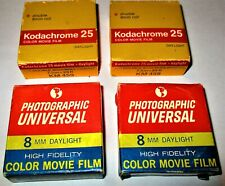 4 Boxes Photo, Universal & Kodak 8 mm Color Daylight Film Double 25 ft. Rolls