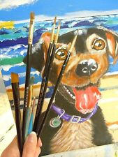 Feist Terrier Jack Russel Dog Acrylic Painting New Original