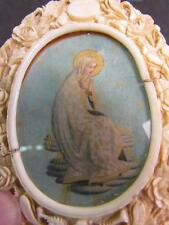*FANTASTIC* ANTIQUE 1800s ITALIAN MINIATURE PAINTING, RELIGOUS ICON,CARVED FRAME