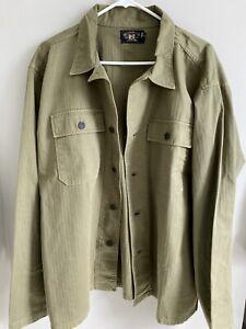 RRL Curtis Herringbone Overshirt XL Olive Drab shirt Jacket green Ralph Lauren