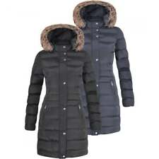 Womens Long Fur Trimmed Hooded Padded Puffer Parka Ladies Winter Jacket Coat