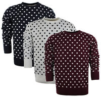 Mens Jumper by Brave Soul 'Polka' Crew Neck Sweater Knitted Pullover Sizes L-XL