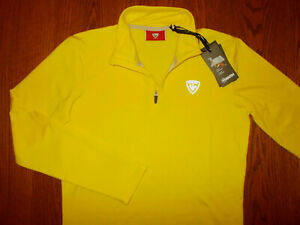 NWT ROSSIGNOL 1/4 ZIP QUICK DRY WARM LONG SLEEVE YELLOW SKI TOP GIRLS 14