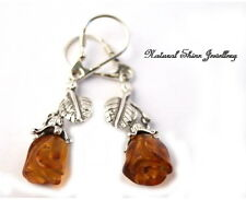 Admirable Dangle Earrings 925 Sterling Silver Natural Baltic Amber - Roses