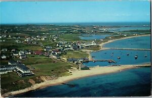 Aerial View of Beaches, Waterfront Block Island RI c1953 Vintage Postcard A77