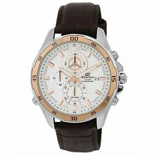 Casio Men's Analogue WR 100m Brown Leather Band Watch - EFR547L-7A