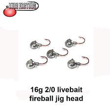 2/0 Fireball live bait  jig head 16g perch pike bass live baiting jig head