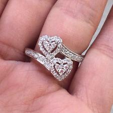 14k White Gold Natural Diamond Heart Wedding Engagement Promise Ring