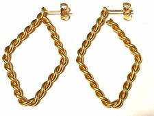 Vintage Gold Tone Braided Cable Stud Earrings 1 5/8""