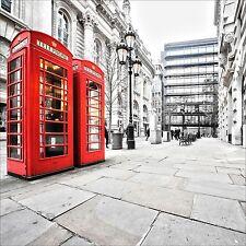 QUADRO ASTRATTO MODERNO IN SU VETRO TEMPERATO 50x50CM CITTA LONDRA LONDON CABINA