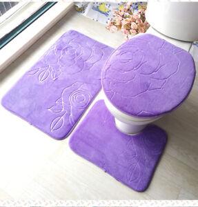 Bathroom Set Mat Carpet Kitchen Floor Door Pieces Bath Toilet Anti Slip Washable