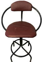 Vintage Mid Century Modern Swivel Bar Stool Atomic Vinyl Cushion