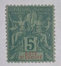 Travelstamps: 1892 Ivory Coast Stamps Navigators Sc # 4, Mint, Og, Hinged