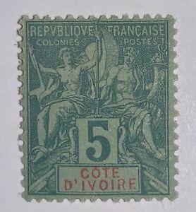Travelstamps: 1892 Ivory Coast Stamps Navigators Sc # 4, Mint, Og, Hinged