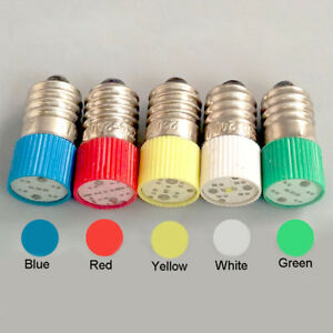 E10 LED Instrument Warning Screw Light Bulb 0.5W 6.3V 12V 24V 110V 220V 380V