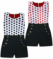 Girls Spot Playsuit Kids New Summer Party Sleeveless Jumpsuit Age 2 - 14 Years