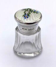 Guilloche Enamel Silver & Glass Scent Bottle by Henry Clifford Davis – 1916